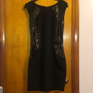 By & By  Sheath Sequined Cocktail Dress Black